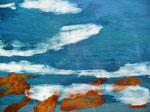 Bleu profond (80x 60 cm) .  marqueterie contemporaine  . 1250€