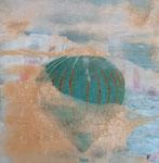 la montgolfière (22,5 x 22,5 cm) .Art contemporain , marqueterie . 200€