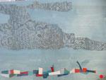 Firmament (80x 60 cm) . Art contemporain , marqueterie  ( vendu )