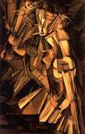 Peinture cubiste de Marcel Duchamp. Nu descendant un escalier n°2, huile sur toile 1912.