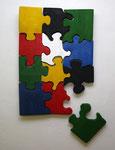 """""""dislocated"""", Puzzle aus 5cm Holzdielen, Lack, 12.2012"""