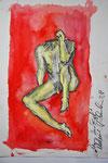 """Mannrotkopflos"", Aquarell+Bleistift, DinA3"