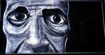 """""""oT"""",  Pastellkreide auf schwarzer Leinwand, 50*100cm"""