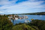 Von unserem Stellplatz der Blick auf den Hafen von Dalcahue...