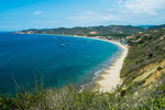 Der Strand von Salango: Blick von unserem Stellplatz....