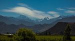 Die Strecke von Santiago durch die hohen Anden (knapp 7.000 m)...