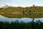 Blick von unserem Campground auf den Tangle Lake.....