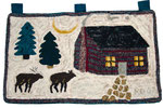 winter cabin with deer, hand-dyed wool, rug hooked