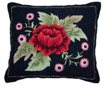 Marvelous rose pillow, hand-dyed wool, rug hooked