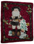 Large Santa Claus with presents, hand-dyed wool, rug hooked