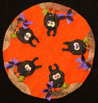 """Who Who Who"", Wool applique candle mat, available as a kit with pattern"