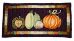 Cute pumpkins and gourds in small rug, hand-dyed wool, rug hooked
