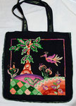 Marvelous bag with fanciful trees, landscape and amazing bird, hand-dyed wool, rug hooked