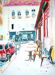 マレのカフェ/ED100/イメージサイズ294mmx384mm                                                 古い石畳の路地を歩いてお気に入りのお店やカフェを見つけるのが楽しいパリのマレ地区。