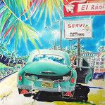 El rapid/ED75/イメージサイズ390mmx400mm                     焼けつくような日差しの真昼のガスリンスタンド。ハバナの町まであと少し。