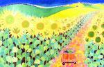 Les vacances/ED75/イメージサイズ710mmx456mm                                    パリから太陽いっぱいの南仏へ。黄色いひまわりが心を元気にしてくれる。