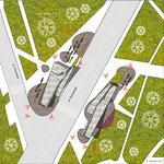 Схема ситуационного плана с павильонами лестничных сходов и лифтов для МГН