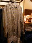 グランパシャツ 裾切り替え グレーチェック  ¥3800  thanks sold
