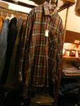 グランパシャツ グリーン×ブラウン チェック  ¥3800     thanks sold