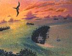 「フリゲートバード、オネアタ島の上に舞う(トンガ)」F59 油彩