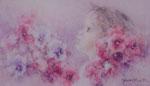 「パンジーと少女」P6 油彩
