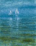 「トンガのホエールボートと白いヨット」油彩