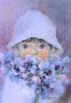 「パンジーと少年」F3 油彩