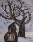 「鳥と少年」パステルと水彩