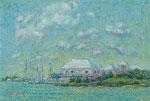 小さなヨットクラブ oil painting, P12 (60.6x45.5cm)