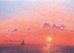 「熱海の日の出」F4 油彩