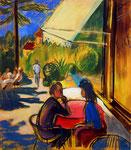 In einem Cafe, 80 x 70 cm, Acryl auf Leinwand