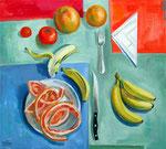 Stillleben mit Grapefruitschälchen, 63 x 70 cm, Öl auf Leinwand