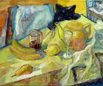 Stillleben mit Katze, 50 x 60 cm, Öl auf Leinwand, / Besitz des Künstlers /