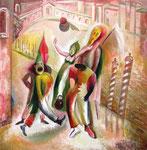 Karneval in Venedig, 61 x 60 cm, Öl auf Leinwand