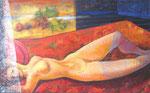 Zur blauen Stunde, 80 x 130 cm, Acryl auf Leinwand