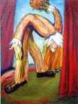 Clown, sich beugend, 80 x 60 cm, Öl auf Leinwand