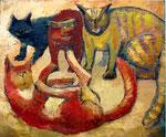 Les quatre chats, 50 x 60 cm, Öl auf Leinwand