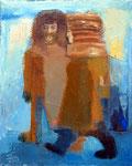 Winterabend, 30 x 24 cm, Öl auf Leinwand