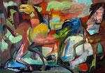 Wilde Pferde, 105 x 150 cm, Acryl auf Leinwand