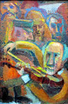 Geigenspieler, 60 x 40 cm, Öl auf Leinwand, auf Sperrholz
