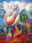 Engel im Freien, 100 x 75 cm, Öl auf Leinwand