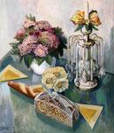Stillleben mit Blumen und Brot, 70 x 60 cm, Öl auf Leinwand