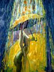 Im Regen, 100 x 70 cm, Öl auf Leinwand, / verkauft /