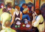 Kaffeezeit, 50 x 70 cm, Öl auf Leinwand