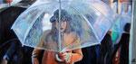 Unterm Regenschirm, 50 x 105 cm, Öl auf Leinwand