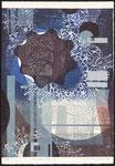 Circus bleuté, 2011, bois gravé et relief, 34,5 X 23,5 cm