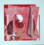 Volute, 2013, relief ( mousse ) et gaufrage, 38,5 X 38,5 cm