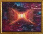 レッド・レクタンブル銀河(¥300,000 税抜き) 額付き アートサイズ(790㎜×605mm)レンタルアート可レンタル中 (Eサイズ)