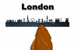 Objekte der Skyline (v.l.n.r.):  Buckingham Palace, Victoria Memorial, White Tower, Gherkin Building, London Eye, Tower Bridge, Big Ben, Marble Arch, Harrods, London Underground, Telefonzelle, Saint Paul's, Trafalgar Square, Bus, Westminster Abbey