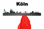 Objekte der Skyline (v.l.n.r.):  Colonius, Mediapark, Museum Ludwig, Dom, Sankt Martin, Kranhaus, Deutzer Brücke, Lufthansa- Zentrale, Lanxess Arena